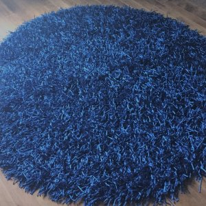 Tapis rond bleu royal