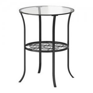 Table d'appoint en métal noir avec plateau de verre
