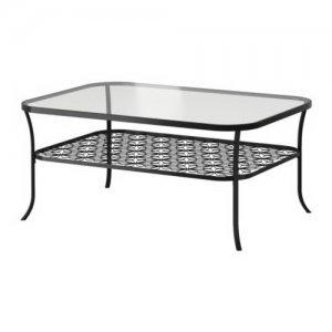 Table basse en métal noir avec plateau de verre