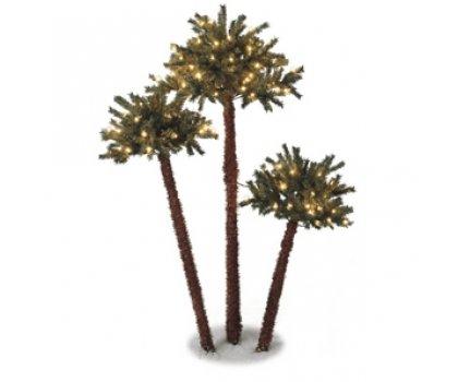 Ensemble de trois palmiers lumineux
