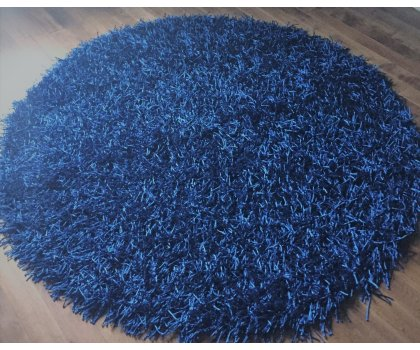 Tapis rond bleu royal